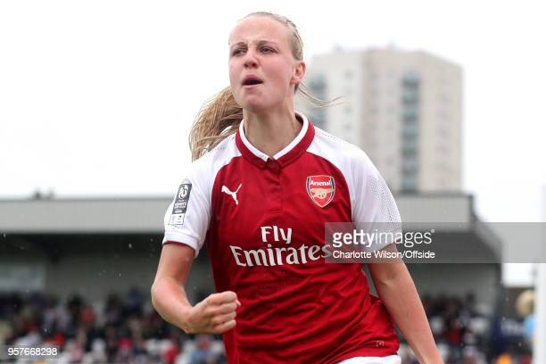 Beth Mead of Arsenal celebrates scoring their 2nd goal during the Womens Super League match between Arsenal Ladies and Manchester City Women at...