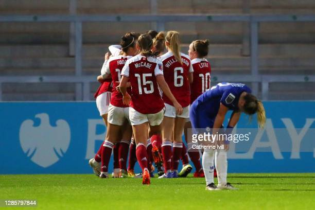 Beth Mead of Arsenal celebrates with teammates after scoring her team's first goal during the Barclays FA Women's Super League match between Arsenal...