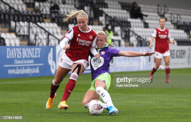 Beth Mead of Arsenal FC battles for possession with Jemma Purfield of Bristol City during the Barclays FA Women's Super League match between Arsenal...