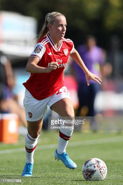 Beth Mead of Arsenal in action during the pre season friendly match between Arsenal Women and Tottenham Hotspur Women at Meadow Park on August 25...