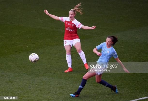 Beth Mead of Arsenal is closed down by Caroline Weir of Manchester City Women during the FA Women's Continental League Cup Final between Arsenal and...