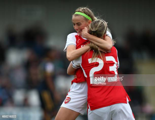 Beth Mead of Arsenal Ladies celebrates her goal with Chloe Kellyduring The SSE FA Women's Cup Fifth Round match between Arsenal Ladies against...