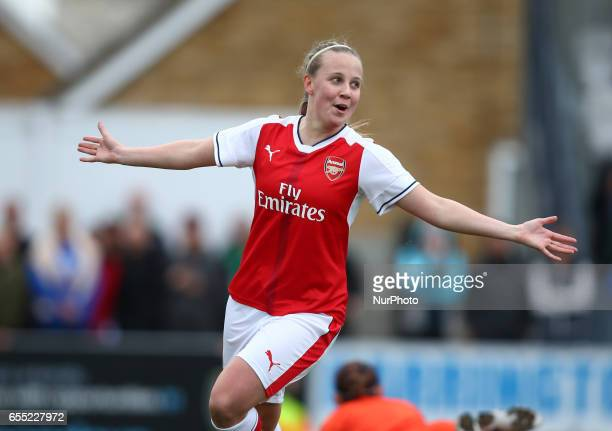 Beth Mead of Arsenal Ladies celebrates her goalduring The SSE FA Women's Cup Fifth Round match between Arsenal Ladies against Tottenham Hotspur...