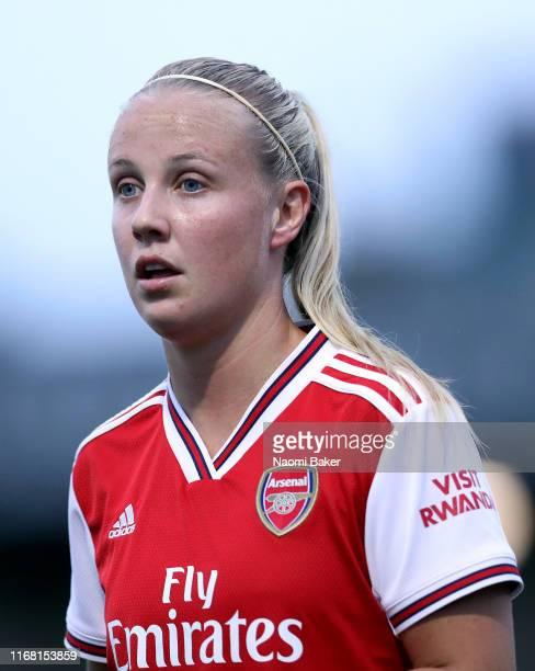 Beth Mead of Arsenal looks on during the Pre Season Friendly match between Arsenal and Barcelona at Meadow Park on August 14 2019 in Borehamwood...