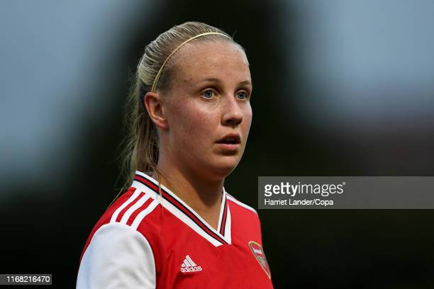Beth Mead of Arsenal looks on during the Preseason Friendly match between Arsenal Women and Barcelona Women at Meadow Park on August 14 2019 in...