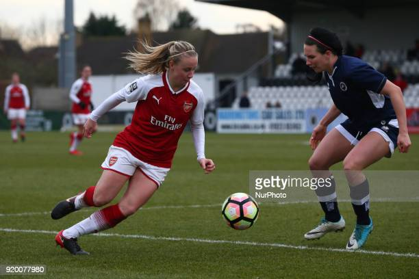 Beth Mead of Arsenal takes on Leighanne Robe of Millwall Lionesses L during The FA Women's Cup Fifth Round match between Arsenal against Millwall...