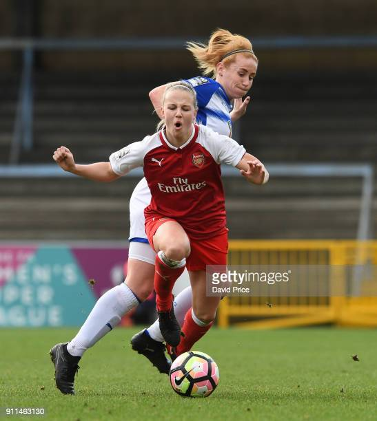 Beth Mead of Arsenal Women is tripped by Rachael Furness of Reading during the match between Reading FC Women and Arsenal Women at Adams Park on...