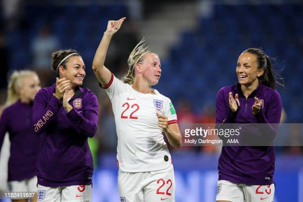 Beth Mead of England and Lucy Staniforth of England celebrate at full time during the 2019 FIFA Women's World Cup France Quarter Final match between...