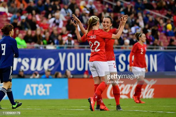 Beth Mead of England celebrates after scoring against the Japan in the 38th minute during the She Believes Cup final at Raymond James Stadium on...