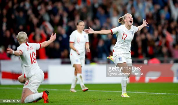 Beth Mead of England celebrates after scoring her team's fourth goal during the FIFA Women's World Cup 2023 Qualifier group D match between England...