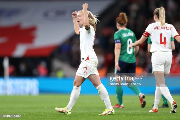 Beth Mead of England celebrates after scoring her team's third goal during the FIFA Women's World Cup 2023 Qualifier group D match between England...