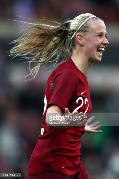 Beth Mead of England celebrates her sides first goal during the International Friendly between England Women and Spain Women at County Ground on...