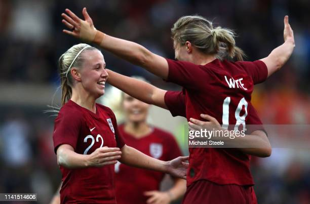 Beth Mead of England celebrates her sides first goal with Ellen White of England during the International Friendly between England Women and Spain...