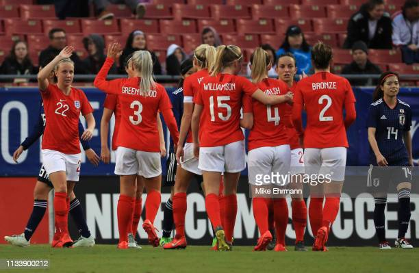Beth Mead of England celebrates with team mates after scoring her team's third goal during the 2019 SheBelieves Cup match between England and Japan...