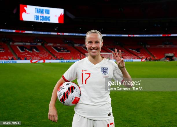 Beth Mead of England celebrates with the match ball after scoring a hat-trick during the FIFA Women's World Cup 2023 Qualifier group D match between...