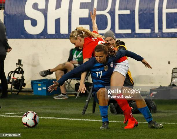 Beth Mead of England collides with Tobin Heath of the United States during the second half of the 2019 SheBelieves Cup match between the United...