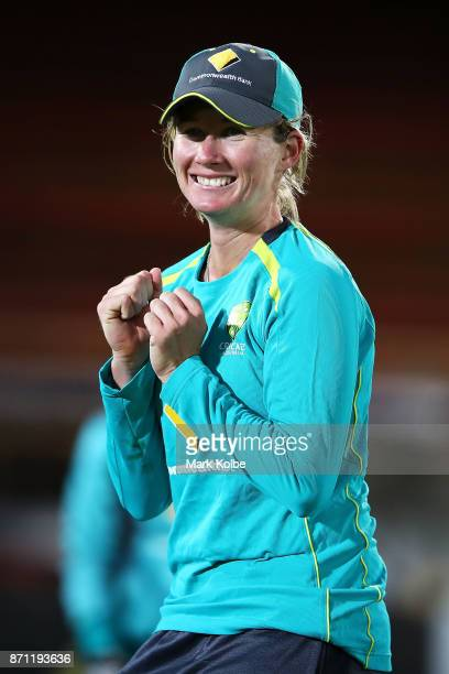 Beth Mooney celebrates taking a catch during an Australian women's Ashes series training session at North Sydney Oval on November 7 2017 in Sydney...