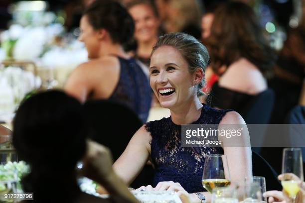 Beth Mooney looks on at the 2018 Allan Border Medal at Crown Palladium on February 12 2018 in Melbourne Australia