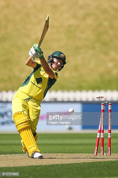 Beth Mooney of Australia is bowled out during match one of the TransTasman Twenty20 Series at Basin Reserve on February 28 2016 in Wellington New...