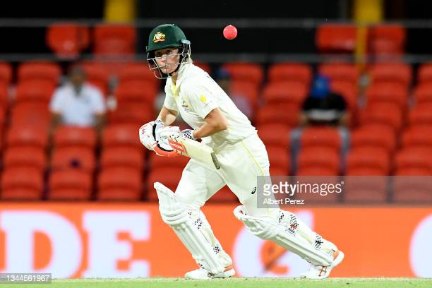 Beth Mooney of Australia plays a shot during day four of the Women's International Test Match between Australia and India at Metricon Stadium on...