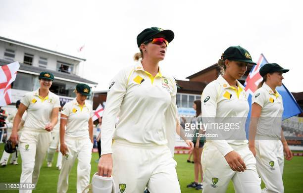 Beth Mooney of Australia takes to the field with the rest of her team during Day Four of the Kia Women's Test Match between England Women and...