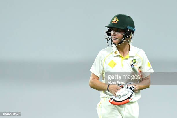 Beth Mooney of Australia walks off the field after being dismissed during day four of the Women's International Test Match between Australia and...