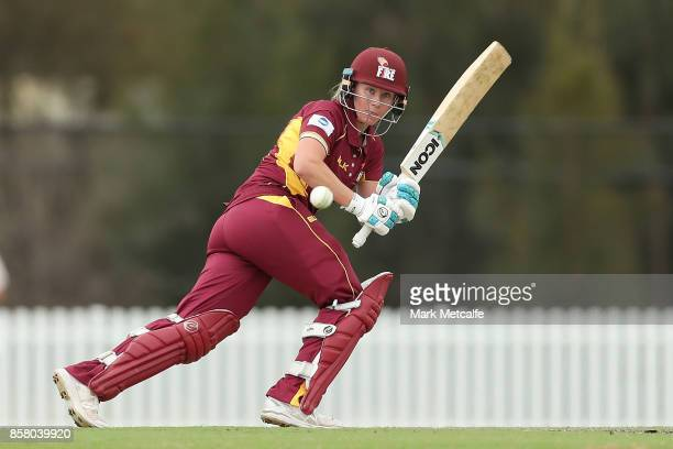 Beth Mooney of Queensland bats during the WNCL match between New South Wales and Queensland at Blacktown International Sportspark on October 6 2017...