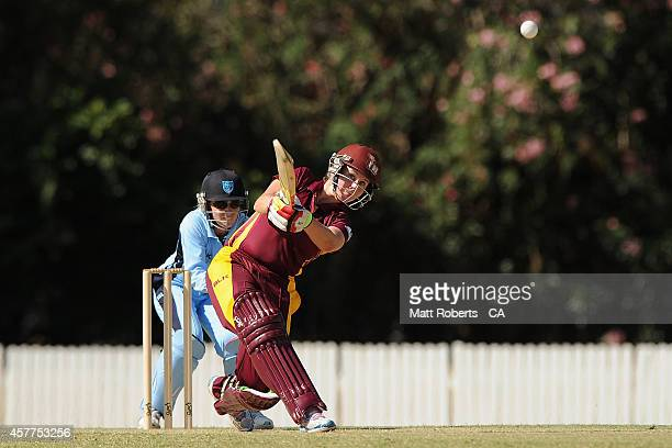 Beth Mooney of Queensland bats during the women's T20 match between Queensland and New South Wales at Allan Border Field on October 24 2014 in...