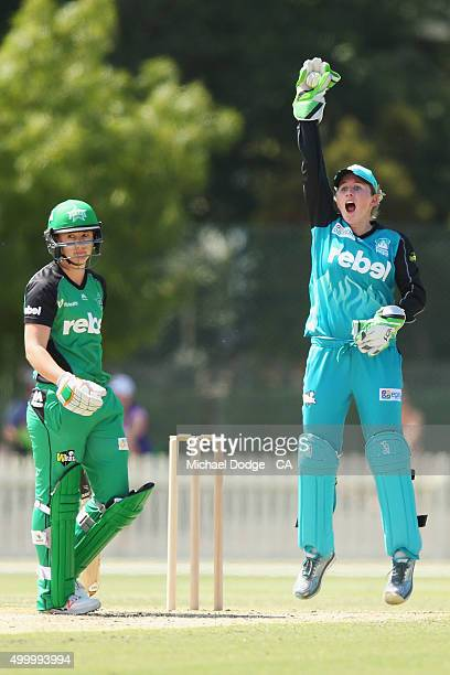 Beth Mooney of the Heat appeals unsuccessfully for the wicket of Anna Lanning of the Stars during the Women's Big Bash League match between the...