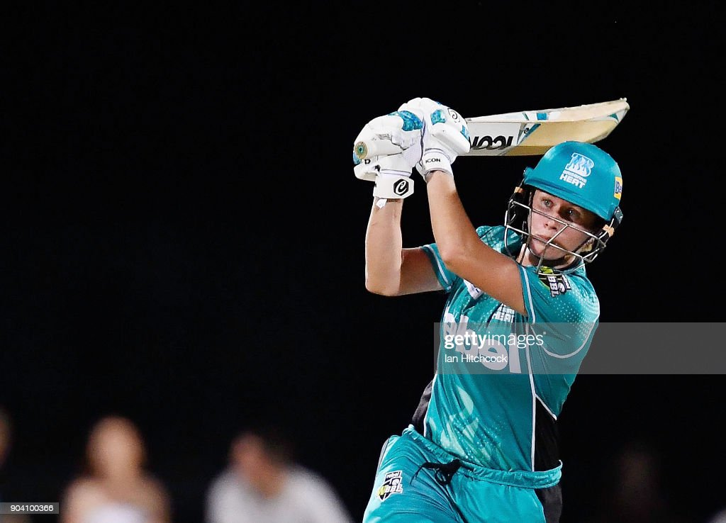 Beth Mooney of the Heat bats during the the Women's Big Bash League match between the Brisbane Heat and the Melbourne Stars at Harrup Park on January 12, 2018 in Mackay, Australia.