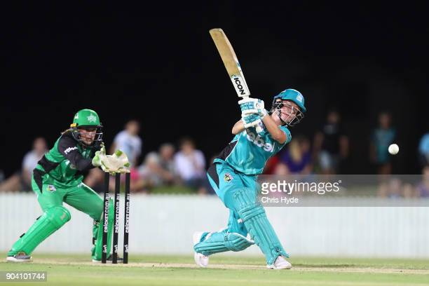 Beth Mooney of the Heat bats during the the Women's Big Bash League match between the Brisbane Heat and the Melbourne Stars at Harrup Park on January...