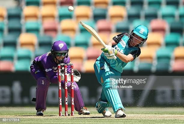 Beth Mooney of the Heat bats during the Women's Big Bash League match between the Hobart Hurricanes and the Brisbane Heat at Blundstone Arena on...