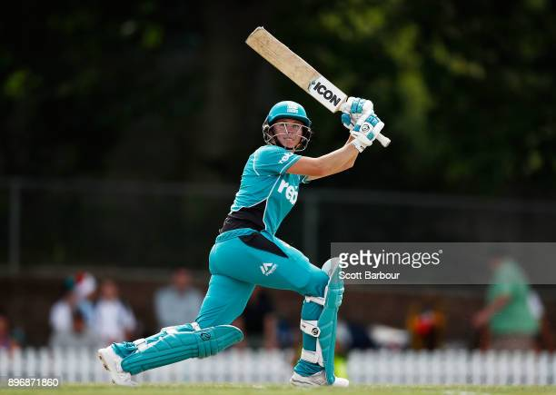 Beth Mooney of the Heat bats during the Women's Big Bash League match between the Brisbane Heat and the Melbourne Renegades at Camberwell on December...