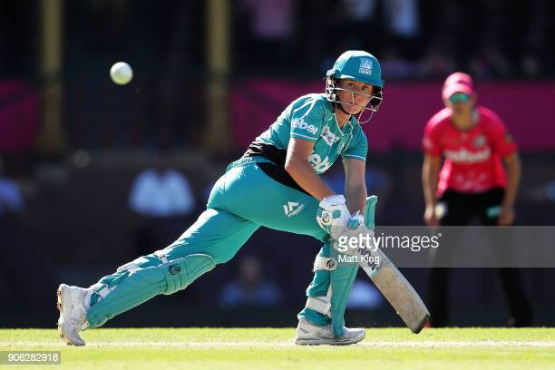 Beth Mooney of the Heat bats during the Women's Big Bash League match between the Sydney Sixers and the Brisbane Heat at Sydney Cricket Ground on...