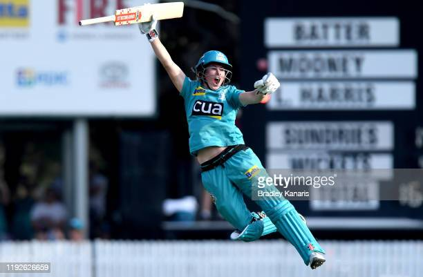 Beth Mooney of the Heat celebrates victory after the 2019 Women's Big Bash League Final match between the Brisbane Heat and the Adelaide Strikers at...