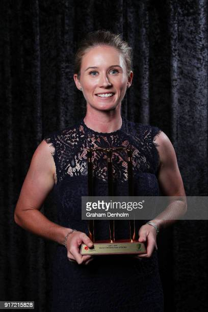 Beth Mooney poses with the award for Women's Domestic Player of the Year during the 2018 Allan Border Medal at Crown Palladium on February 12 2018 in...
