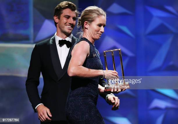 Beth Mooney speaks accepts her award from Pat Cummins at the 2018 Allan Border Medal at Crown Palladium on February 12 2018 in Melbourne Australia