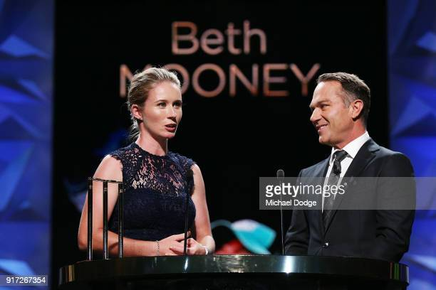 Beth Mooney speaks next to Host Michael Slater at the 2018 Allan Border Medal at Crown Palladium on February 12 2018 in Melbourne Australia