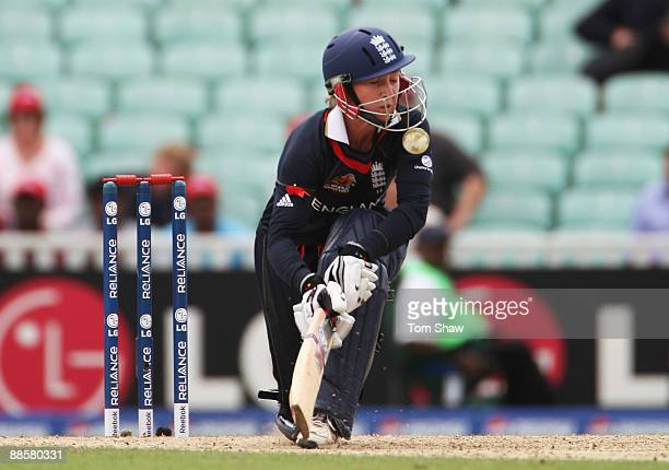 Beth Morgan of England is struck on the helmet during the ICC Women's World Twenty20 Semi Final between England and Australia at the Brit Oval on...