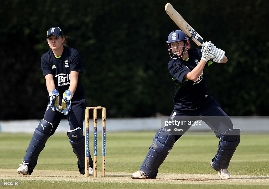 Beth Morgan of England warms up during the England Women's Cricket Team training session at the ECB Academy on April 23, 2010 in Loughborough, England.