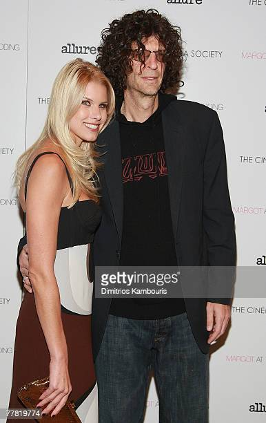 Beth Ostrosky and Howard Stern attend the Margot at the Wedding hosted by the Cinema Society at the Tribeca Grand Screenig Room on November 8 2007 in...