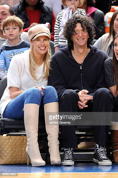 Beth Ostrosky and Howard Stern attend the Utah Jazz vs New York Knicks game at Madison Square Garden on November 9 2008 in New York City