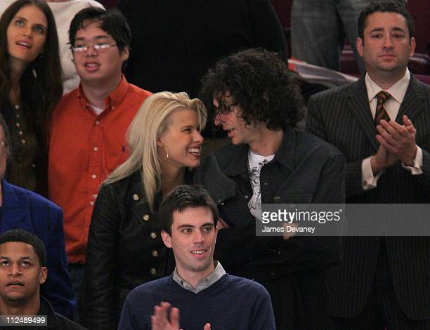 Beth Ostrosky and Howard Stern during Celebrities Attend Washington Capitals vs New York Rangers Game October 5 2006 at Madison Square Garden in New...