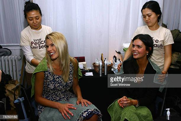 Beth Ostrosky and Katie Lee prepare at the Monica Moss Fall 2007 fashion presentation during MercedesBenz Fashion Week at The Puck Buliding February...