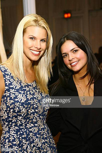 Beth Ostrosky and Katie Lee prepare backstage at the Monica Moss Fall 2007 fashion presentation during MercedesBenz Fashion Week at The Puck Buliding...