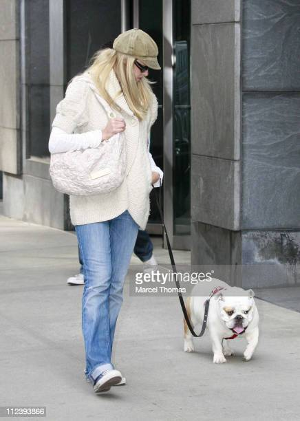 Beth Ostrosky and pet Bianca during Beth Ostrosky Sighting in New York City April 26 2007 in New York City New York United States