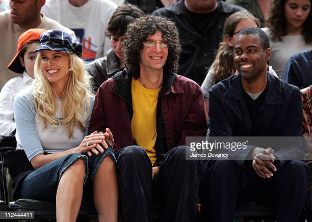 Beth Ostrosky Howard Stern and Chris Rock during Celebrities Attend the Washington Wizards vs New York Knicks Game November 4 2005 at Madison Square...