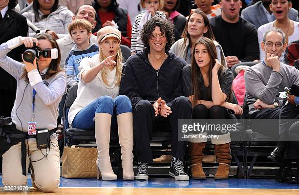 Beth Ostrosky Howard Stern and daughter attend the Utah Jazz vs New York Knicks game at Madison Square Garden on November 9 2008 in New York City