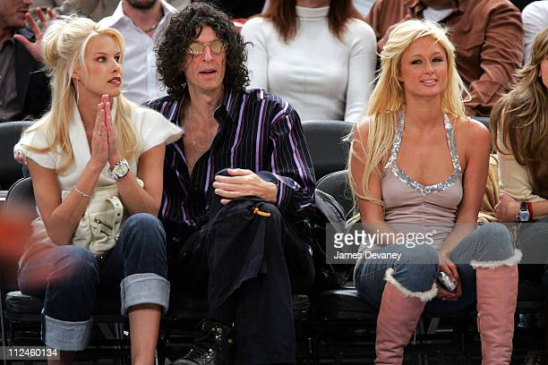 Beth Ostrosky Howard Stern and Paris Hilton during Celebrities Attend Boston Celtics vs New York Knicks Game at Madison Square Garden in New York...