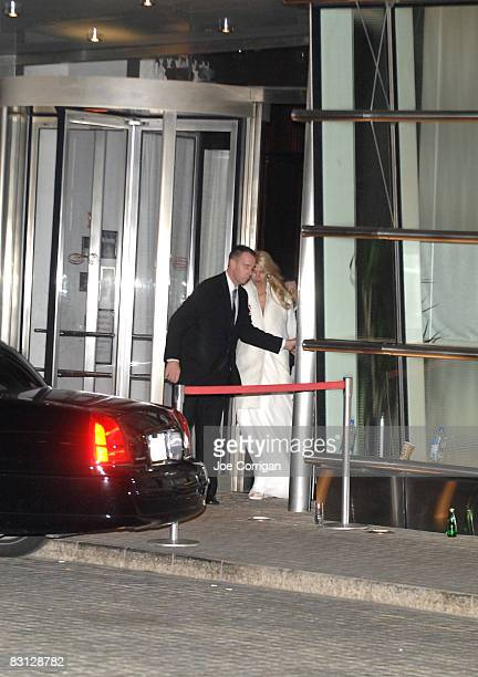 Beth Ostrosky leaves her wedding reception at Le Cirque on October 3, 2008 in New York City.